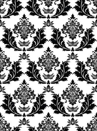 黒シームレスなダマスク織パターンのイラスト