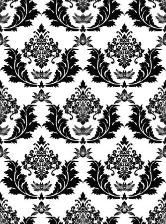 illustration of a black seamless damask pattern