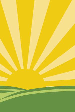緑の丘の背後に昇る太陽の図