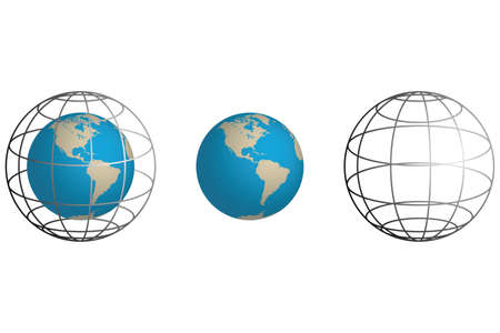 wireframe globe isolated on white background with seperate elements Illustration