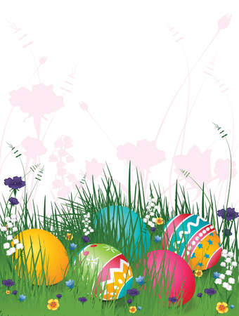 illustration background of easter eggs on grass with flowers