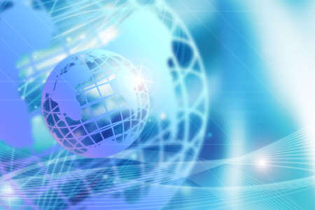 Wireframe globe on blue background with decorative lines