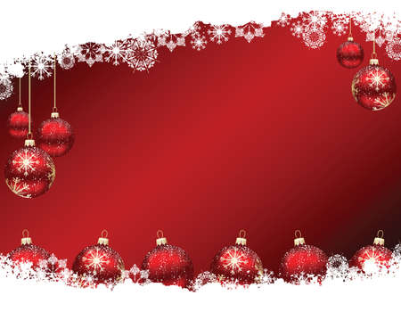 Christmas baubles on decorative red gradient background with snow