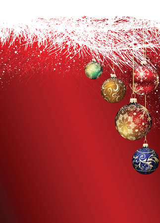 Christmas baubles in a branche on decorative red gradient background Standard-Bild