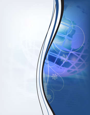 Blue globe background with ornaments, curves and flowers
