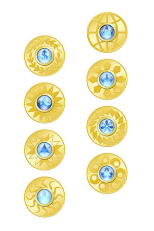 Gold coins and blue glass on white background