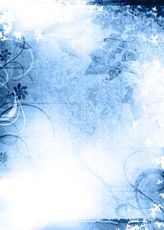 青いグランジ テクスチャ背景の葉と ornements と