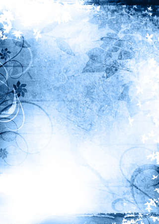 Blue grunge texture background with leaf and ornements