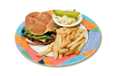 ハンバーガーとフライド ポテトとコールスロー、白い背景のプレート 写真素材