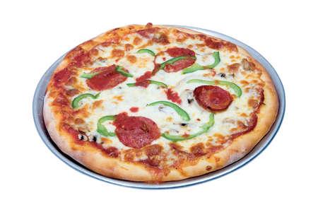 白の背景に分離された金属板全体 alldressed ピザ