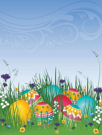 草の花と青い空と上イラスト背景イースターの卵します。
