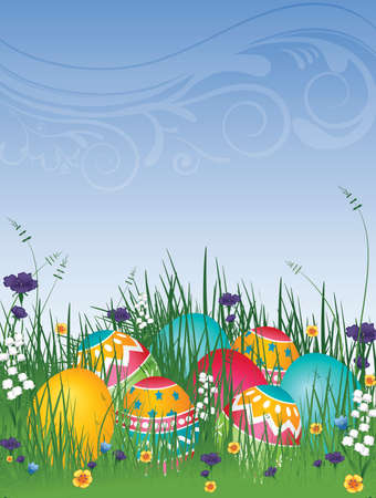 saturated color: illustration background of easter eggs on grass with flowers and blue sky