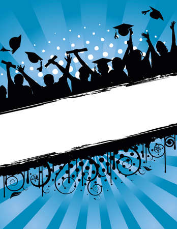 Ilustración de fondo de grunge de un grupo de graduados, lanzando sus gorras en celebración de graduación