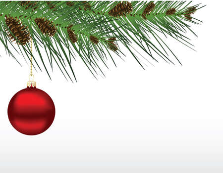 illustration of a red Christmas bauble hanging from a pine branch with cones.