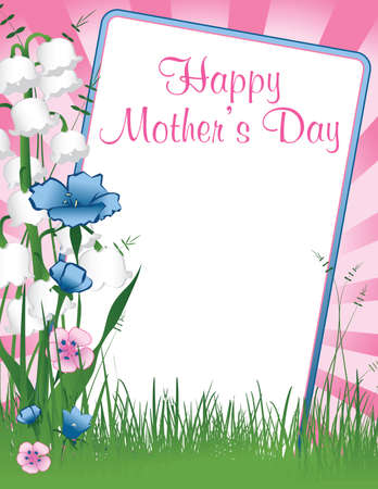 happy: illustration background with a frame of Happy Mothers Day with flowers