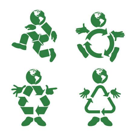 リサイクル シンボル体緑キャラクターのイラスト