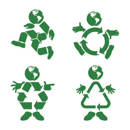 recycle symbol:  illustration of a green character with a recycle symbol body