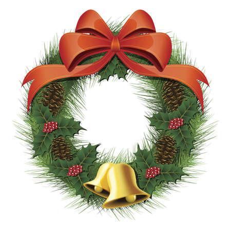 クリスマスの花輪、弓、マツ円錐形、鐘と果実の図 写真素材