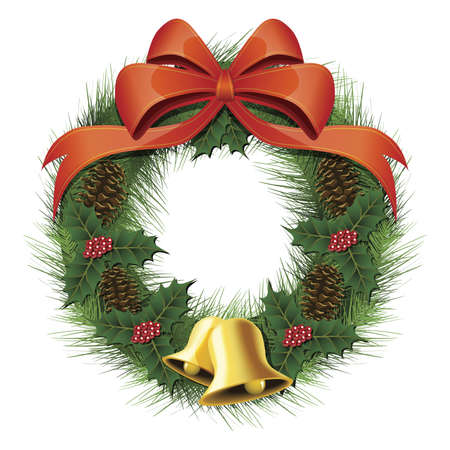 Illustration of a christmas wreath with a bow, pine cones, bells and berries Фото со стока