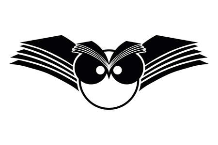 シンボル: フクロウのイラスト開く白い背景の上の本の翼
