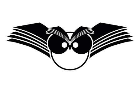 illustratie van een uil met open boek vleugels op een witte achtergrond