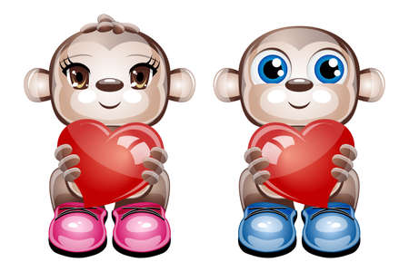 illustration of 2 cute character animals holding a heart on a white background