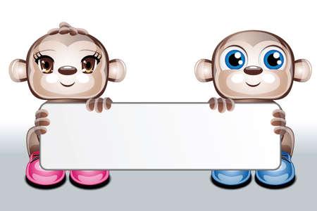 白い背景の上、空白の名刺を保持 2 かわいいキャラクター動物のイラスト