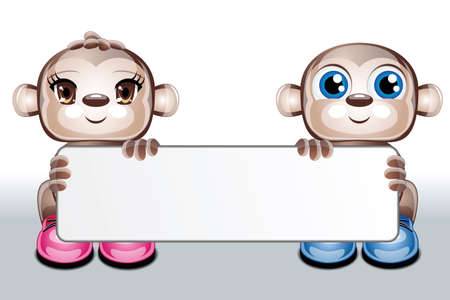 illustration of 2 cute character animals holding a blank card on a white background
