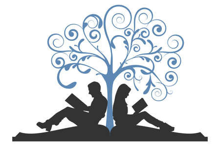 illustration of a couple sitting on a book, reading under a tree on a white background Vettoriali