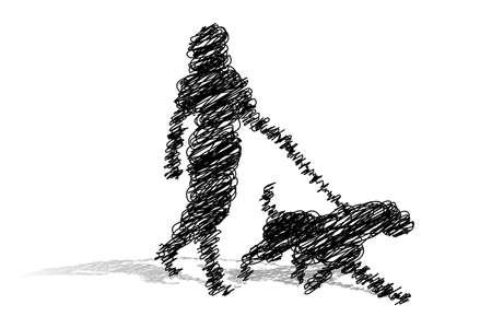 白い背景の上に犬の散歩 (フリーハンド) 女性のイラスト