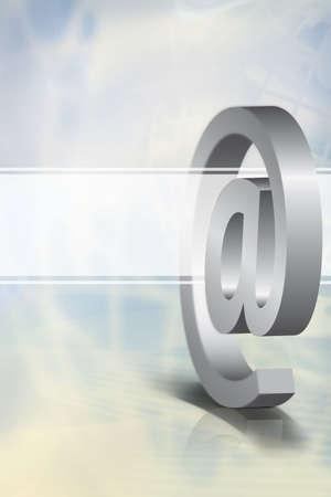 3 D メール記号とグローバルなコミュニケーション技術を象徴する透明な白い旗、明るい青の背景。