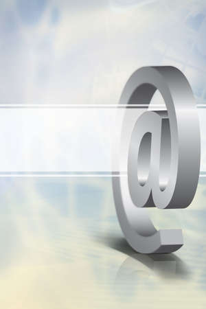 Light blue background with a 3D email symbol and a transparent white banner, symbolizing global communication technology.