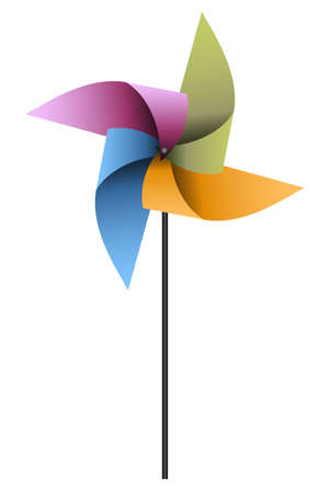 illustration of a colorful pinwheel on a white background Ilustração