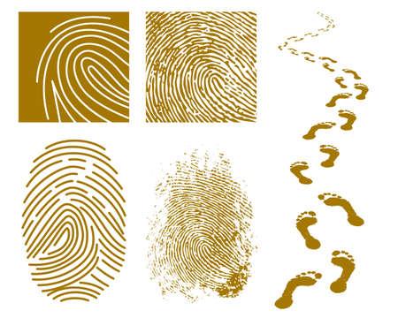 指紋と白い背景の上の足跡のイラスト