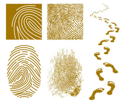security symbol: illustration of fingerprints and footprints on a white background