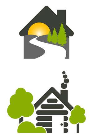 2 キャビンハウスロッジ アイコンまたはロゴは白い背景の上のイラスト。  イラスト・ベクター素材