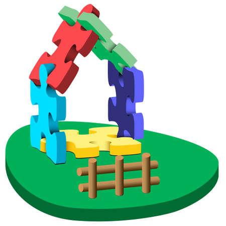Ilustración 3D de una casa de colorido rompecabezas sobre césped con una valla sobre un fondo blanco