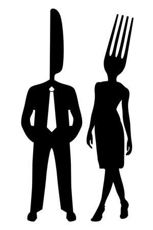 Ilustración de una pareja de silueta con la cabeza de un tenedor y cuchillo sobre un fondo blanco