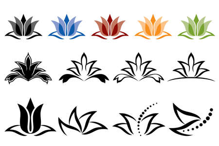 illustration of lotus flower icons on a white background