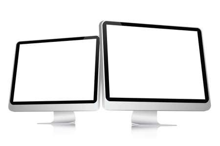 illustratie van 2 leeg computer platte schermen geïsoleerd op een witte achtergrond