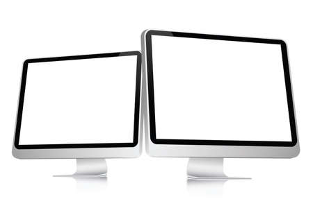 pc: illustration of 2 blank computer flat screens isolated on a white background