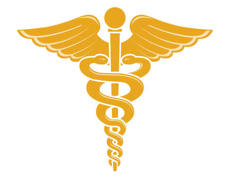 Vector illustration of caduceus medical symbol isolated on a white background. Illustration