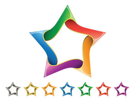 star award: a colorful shiny star icon set isolated on a white background