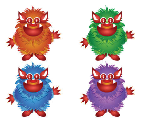 hairy monster isolated on a white background