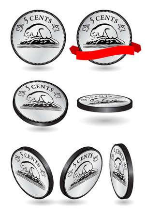 白い背景の上のカナダの 5 セント コインのベクトル イラスト