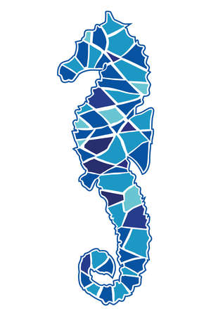 Vector illustration of a mosaic seahorse on white background