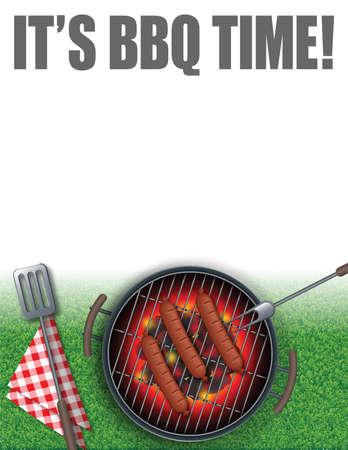 Summer background illustration of BBQ elements