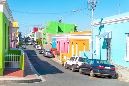 Colorful houses on waal street in cape town south africa bo-kaap sunny bright
