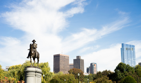 George Washington Statue in Boston Common Skyline Stock Photo