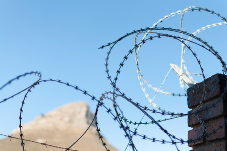 Barb wire barbwire wall for security at prison criminal protection